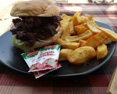 Goa Prices - Big Banana Steak Burger and Chips